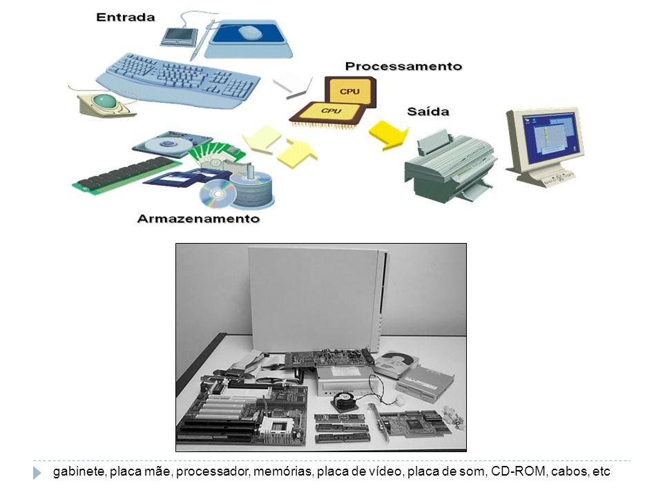 gabinete, placa mãe, processador, memórias, placa de vídeo, placa de som, CD-ROM, cabos, etc