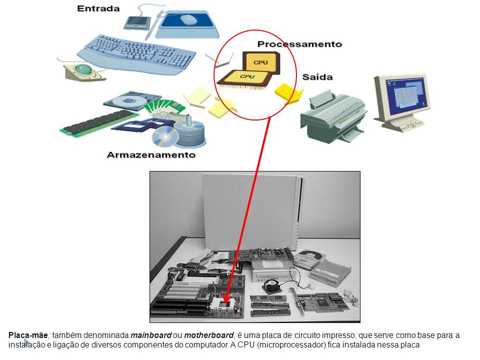 Placa-mãe, também denominada mainboard ou motherboard, é uma placa de circuito impresso, que serve como base para a instalação e ligação de diversos componentes do computador.
