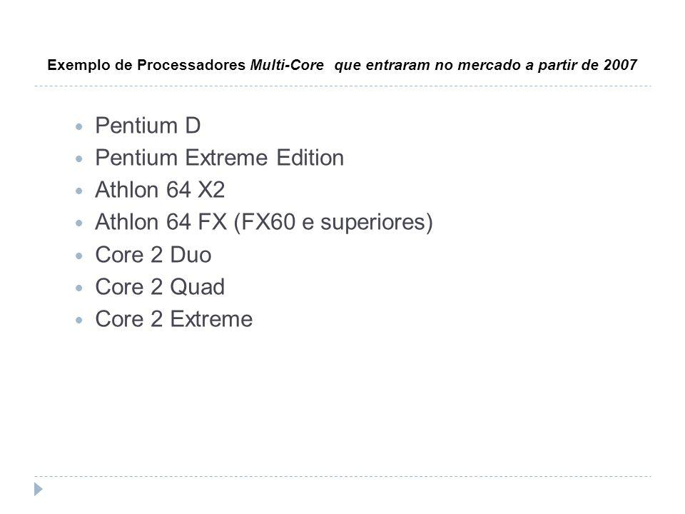 Pentium Extreme Edition Athlon 64 X2 Athlon 64 FX (FX60 e superiores)
