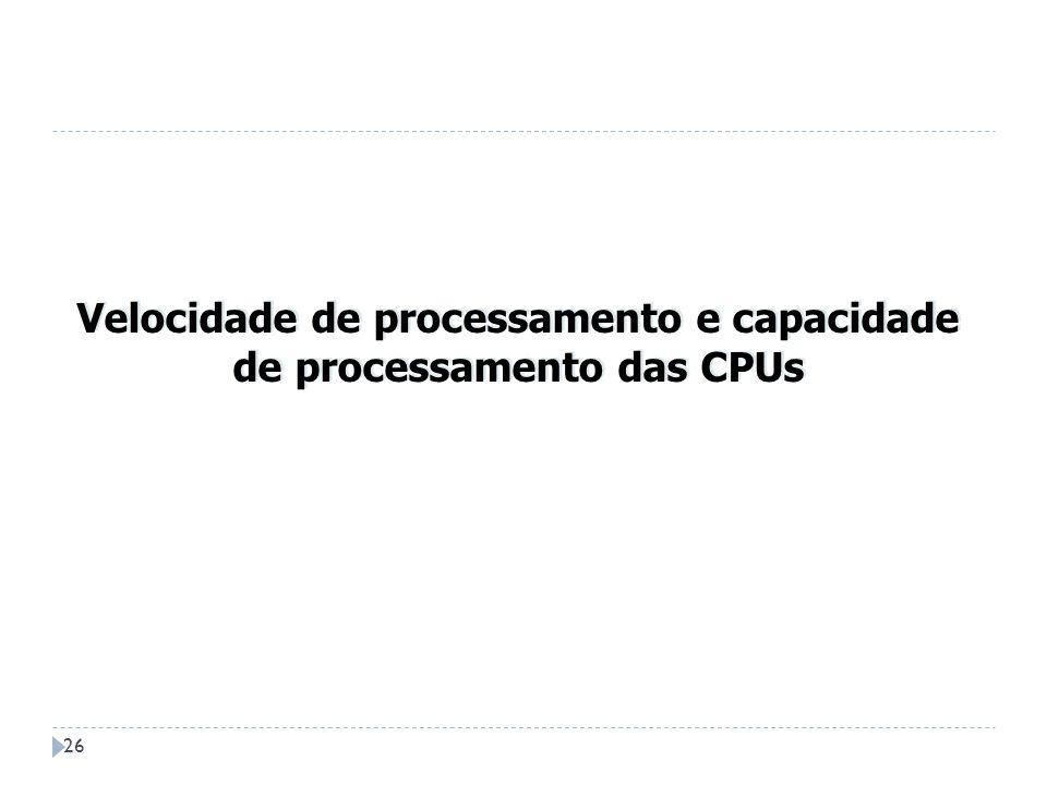 Velocidade de processamento e capacidade de processamento das CPUs
