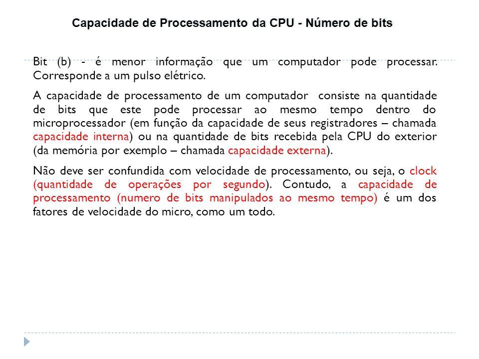 Capacidade de Processamento da CPU - Número de bits