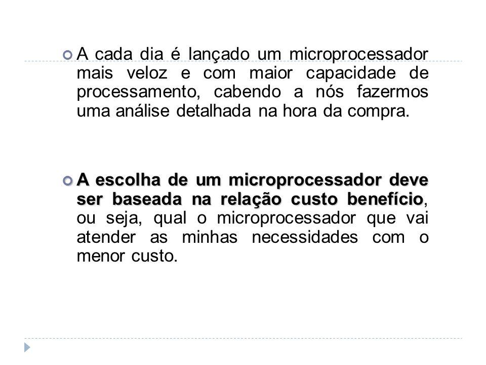 A cada dia é lançado um microprocessador mais veloz e com maior capacidade de processamento, cabendo a nós fazermos uma análise detalhada na hora da compra.