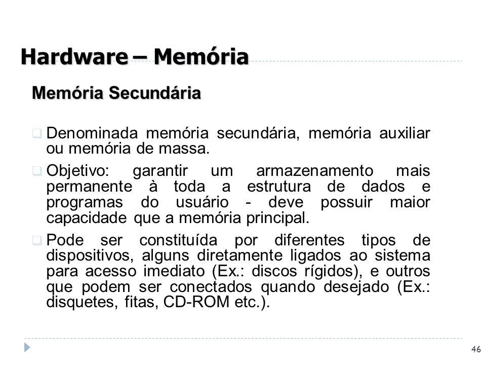 Hardware – Memória Memória Secundária