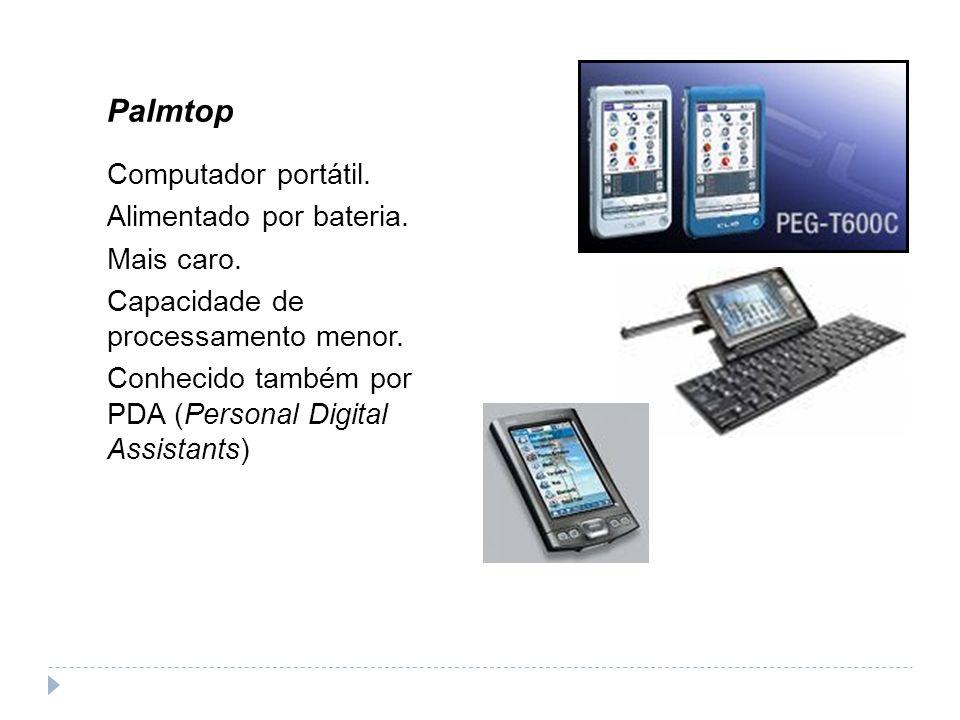 Palmtop Computador portátil. Alimentado por bateria. Mais caro.