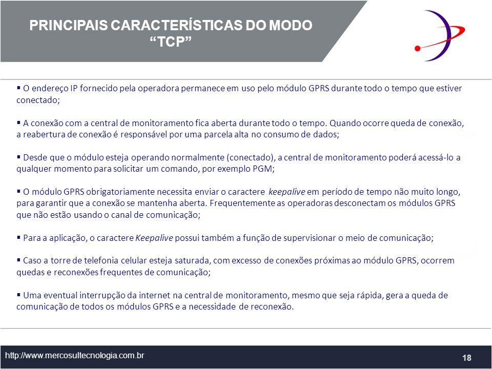 PRINCIPAIS CARACTERÍSTICAS DO MODO TCP