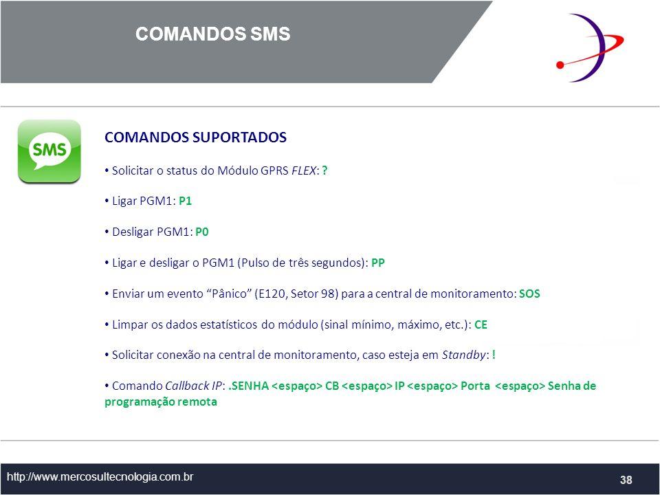 COMANDOS SMS COMANDOS SUPORTADOS