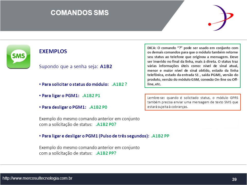 COMANDOS SMS EXEMPLOS Supondo que a senha seja: A1B2