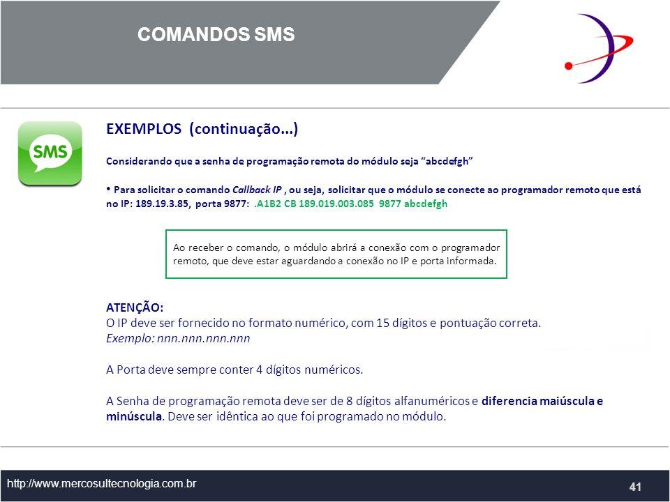 COMANDOS SMS EXEMPLOS (continuação...)