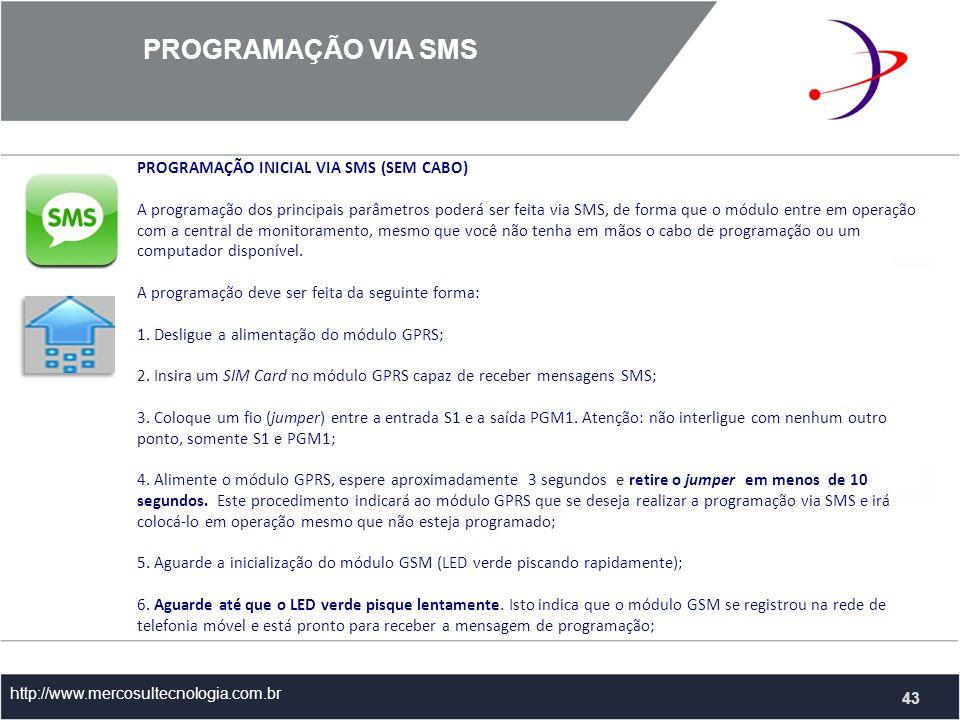 PROGRAMAÇÃO VIA SMS PROGRAMAÇÃO INICIAL VIA SMS (SEM CABO)