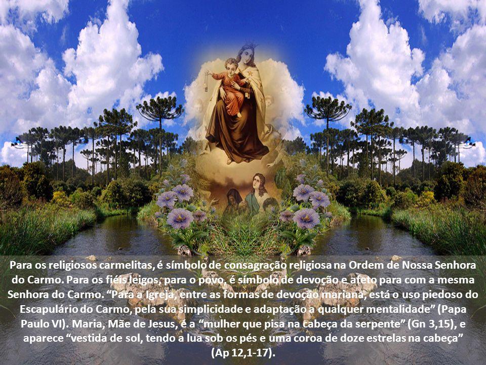 Para os religiosos carmelitas, é símbolo de consagração religiosa na Ordem de Nossa Senhora do Carmo. Para os fiéis leigos, para o povo, é símbolo de devoção e afeto para com a mesma Senhora do Carmo. Para a Igreja, entre as formas de devoção mariana, está o uso piedoso do Escapulário do Carmo, pela sua simplicidade e adaptação a qualquer mentalidade (Papa Paulo VI). Maria, Mãe de Jesus, é a mulher que pisa na cabeça da serpente (Gn 3,15), e aparece vestida de sol, tendo a lua sob os pés e uma coroa de doze estrelas na cabeça