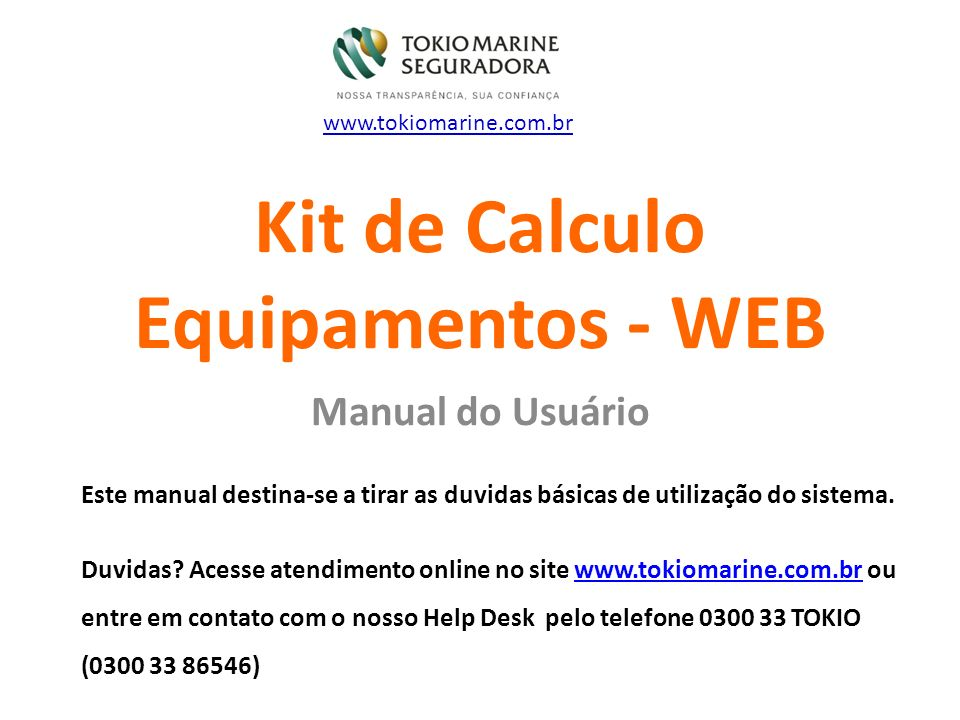 Kit de Calculo Equipamentos - WEB