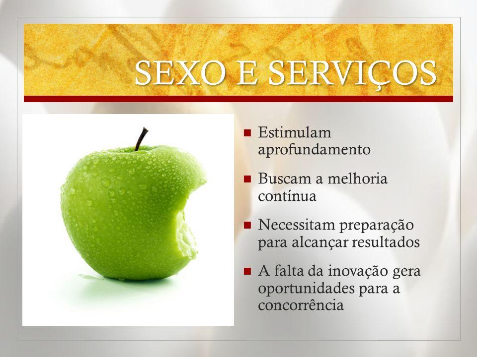 SEXO E SERVIÇOS Estimulam aprofundamento Buscam a melhoria contínua