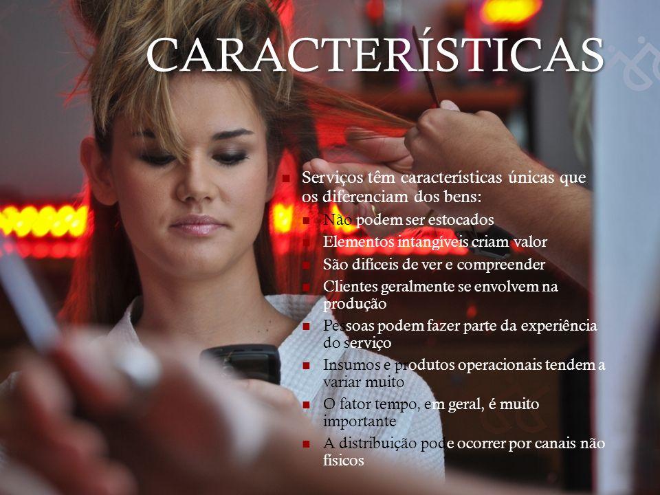 CARACTERÍSTICAS Serviços têm características únicas que os diferenciam dos bens: Não podem ser estocados.