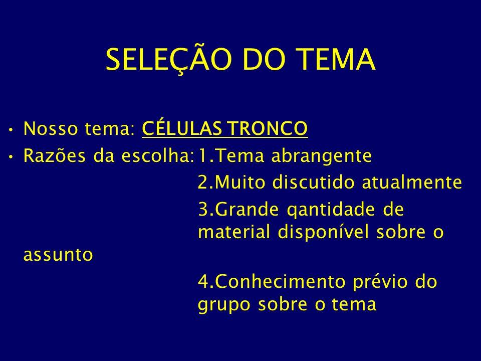 SELEÇÃO DO TEMA Nosso tema: CÉLULAS TRONCO