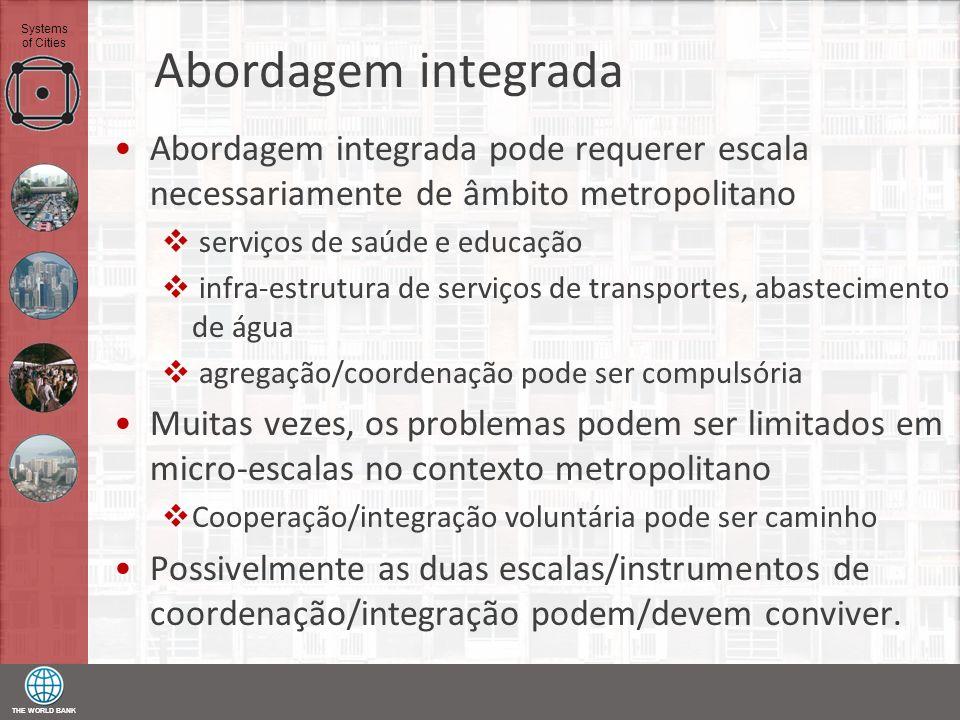 Abordagem integrada Abordagem integrada pode requerer escala necessariamente de âmbito metropolitano.