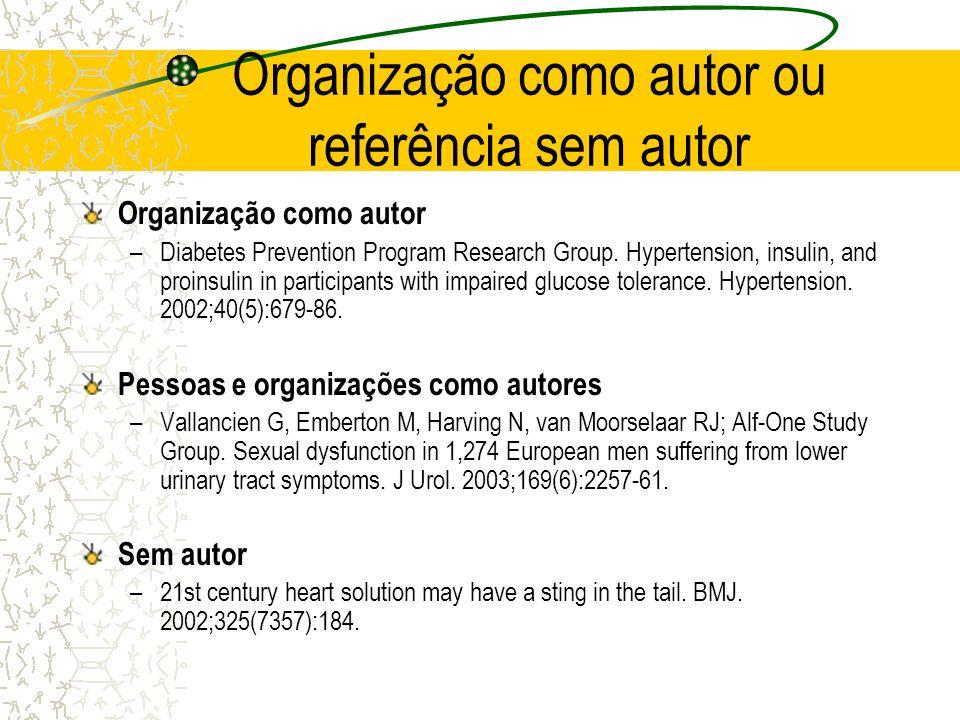 Organização como autor ou referência sem autor