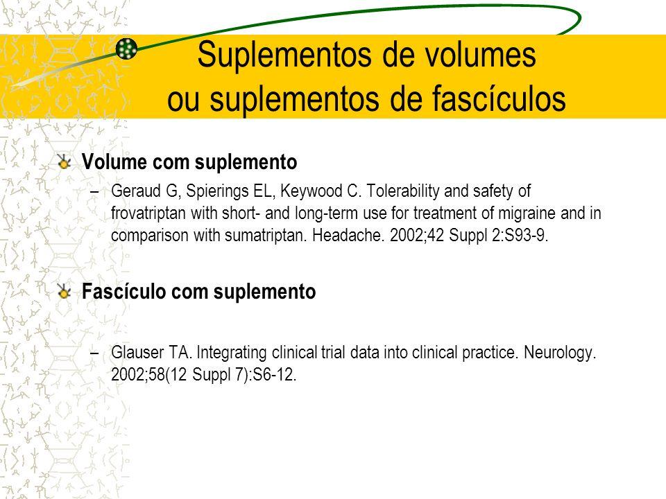 Suplementos de volumes ou suplementos de fascículos