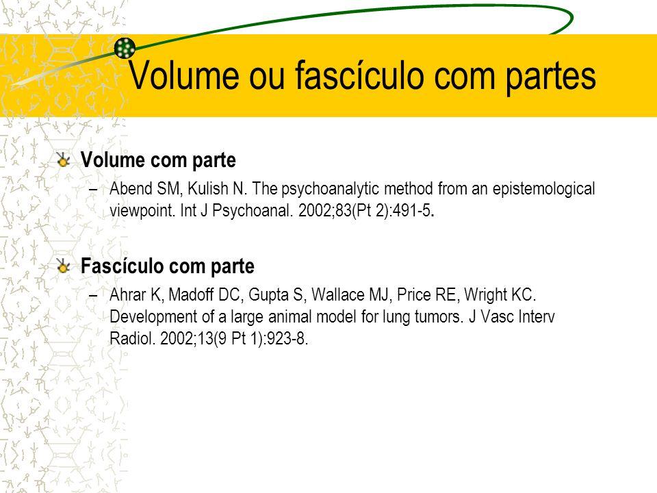 Volume ou fascículo com partes