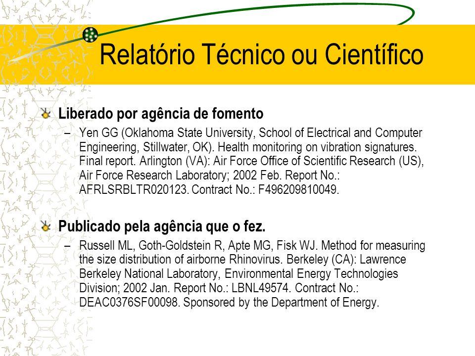 Relatório Técnico ou Científico
