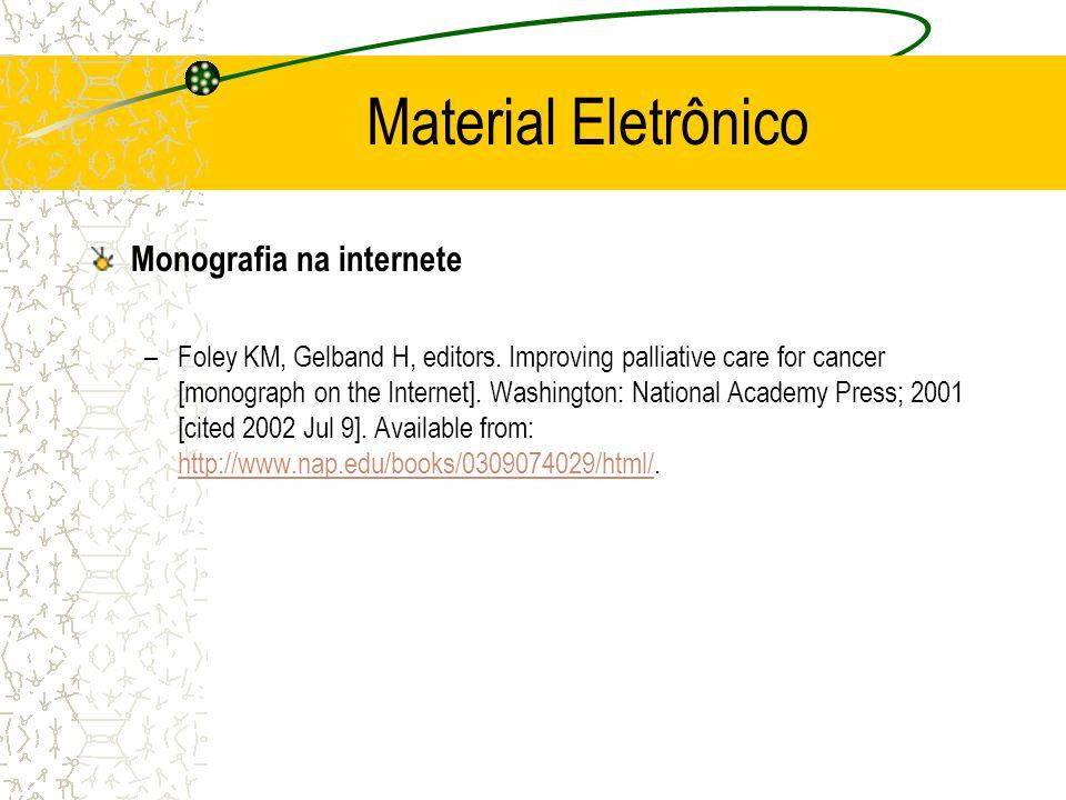 Material Eletrônico Monografia na internete