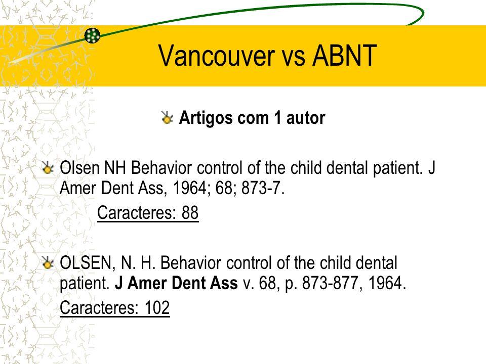 Vancouver vs ABNT Artigos com 1 autor