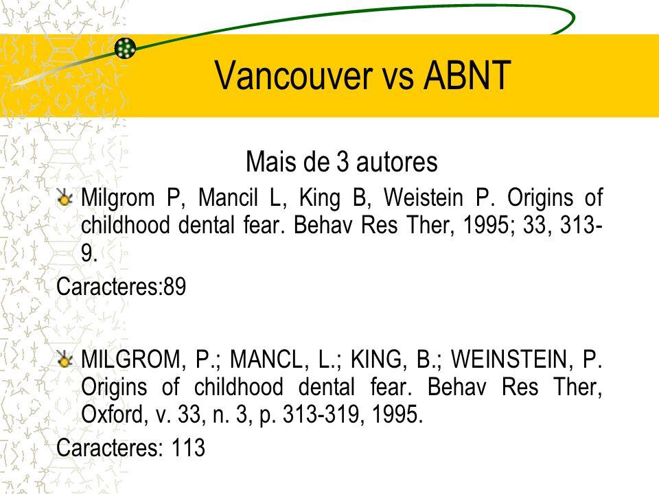 Vancouver vs ABNT Mais de 3 autores