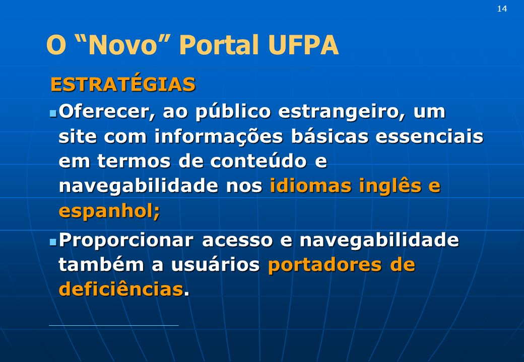 14 O Novo Portal UFPA. ESTRATÉGIAS.