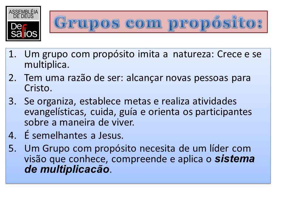 Grupos com propósito: Um grupo com propósito imita a natureza: Crece e se multiplica. Tem uma razão de ser: alcançar novas pessoas para Cristo.