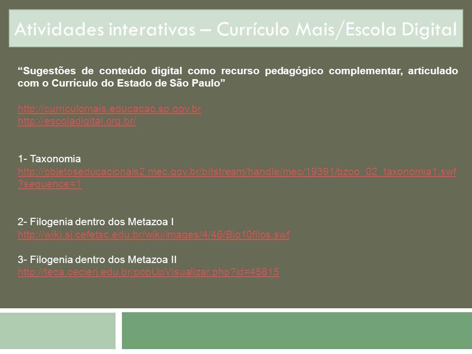 Atividades interativas – Currículo Mais/Escola Digital