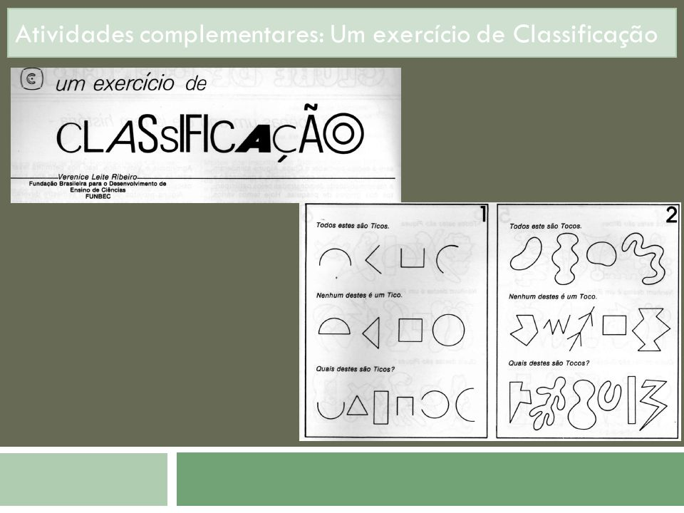 Atividades complementares: Um exercício de Classificação