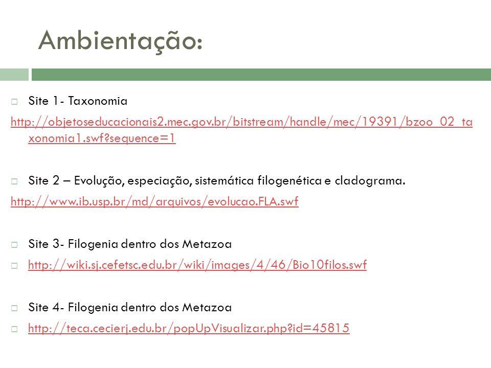 Ambientação: Site 1- Taxonomia