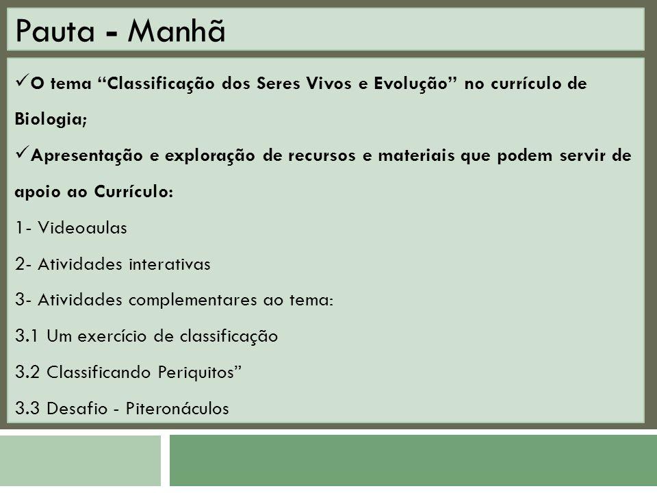 Pauta - Manhã O tema Classificação dos Seres Vivos e Evolução no currículo de Biologia;
