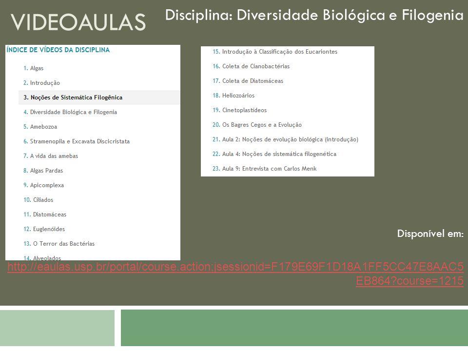 Videoaulas Disciplina: Diversidade Biológica e Filogenia