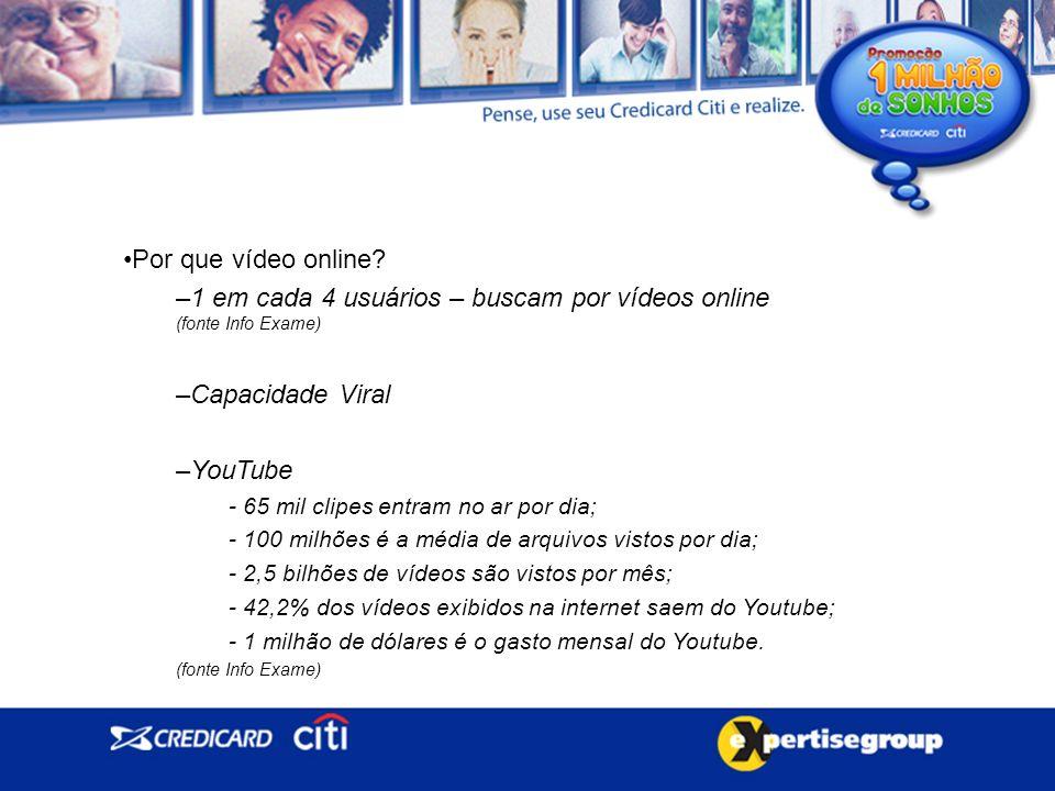 1 em cada 4 usuários – buscam por vídeos online (fonte Info Exame)