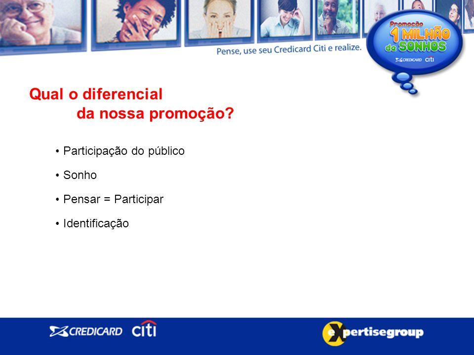 Qual o diferencial da nossa promoção Participação do público Sonho