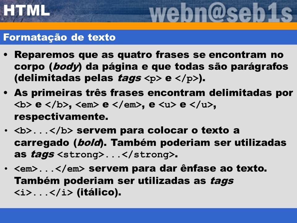 HTML Formatação de texto