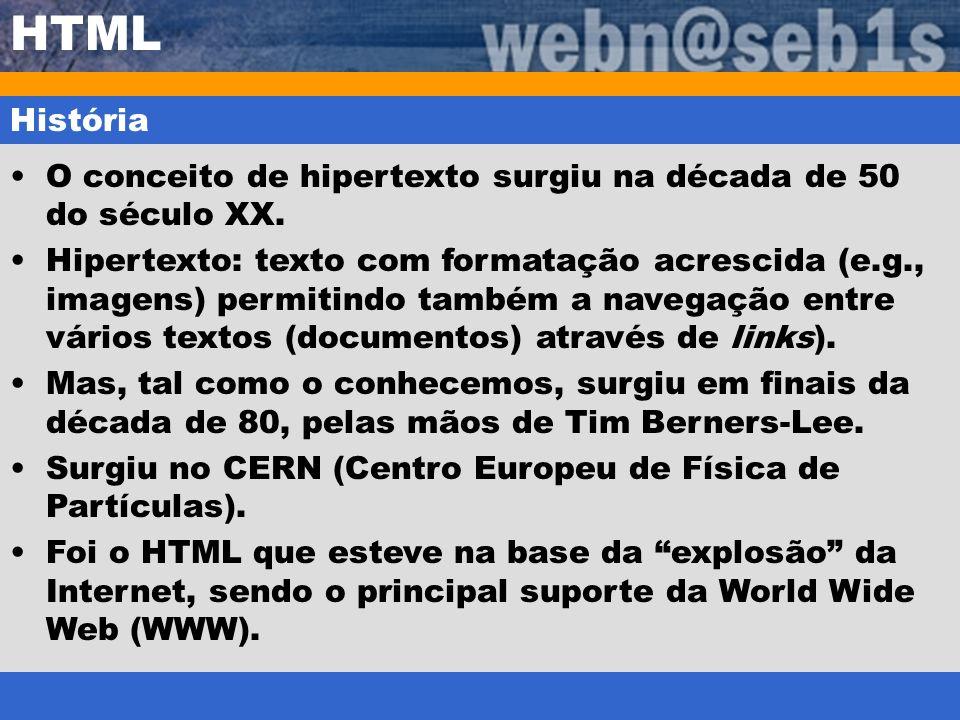 HTML História. O conceito de hipertexto surgiu na década de 50 do século XX.