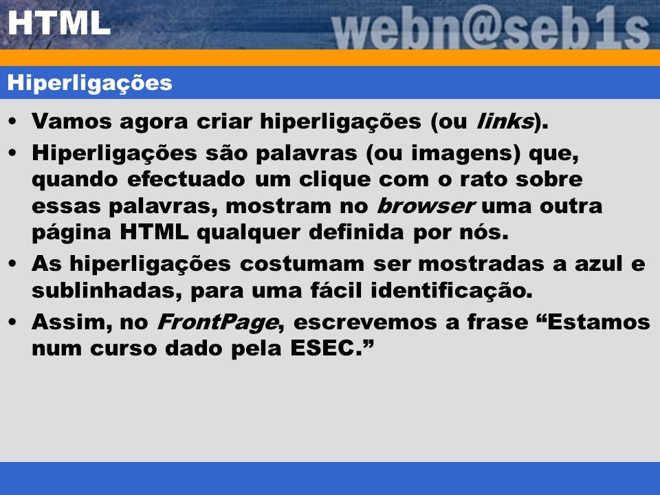 HTML Hiperligações Vamos agora criar hiperligações (ou links).