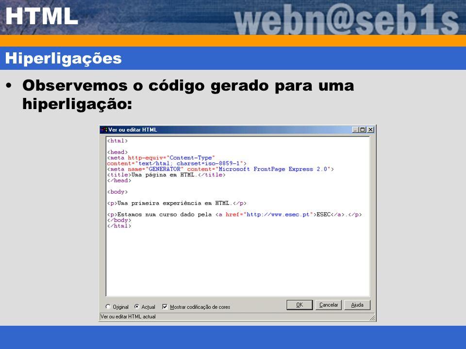 HTML Hiperligações Observemos o código gerado para uma hiperligação:
