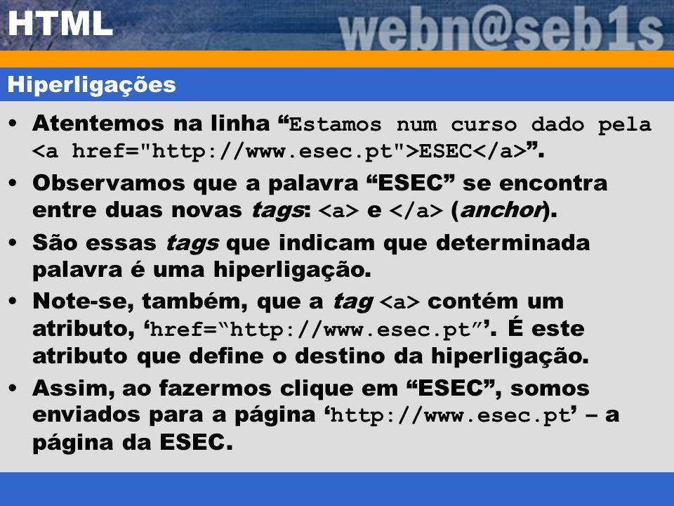 HTML Hiperligações. Atentemos na linha Estamos num curso dado pela <a href= http://www.esec.pt >ESEC</a> .