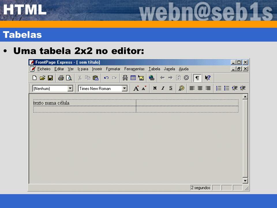 HTML Tabelas Uma tabela 2x2 no editor: