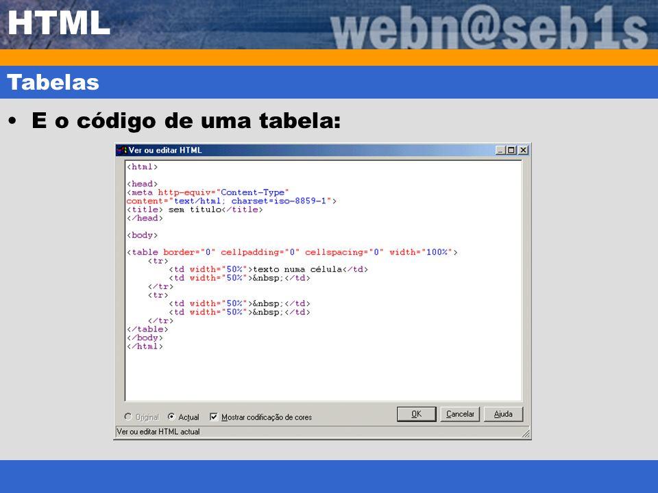 HTML Tabelas E o código de uma tabela: