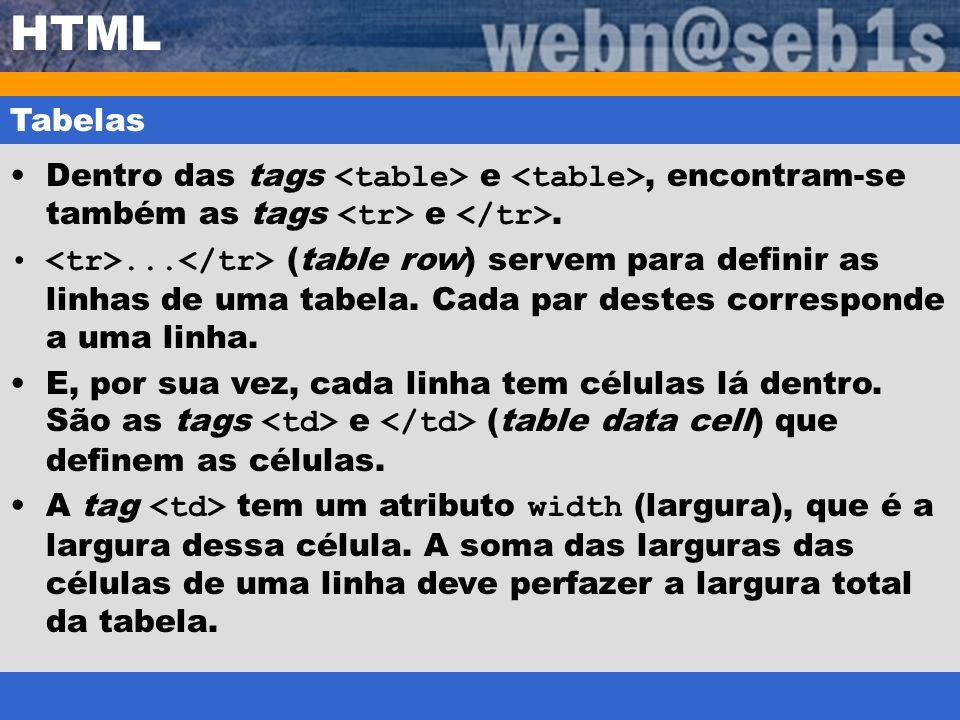 HTML Tabelas. Dentro das tags <table> e <table>, encontram-se também as tags <tr> e </tr>.