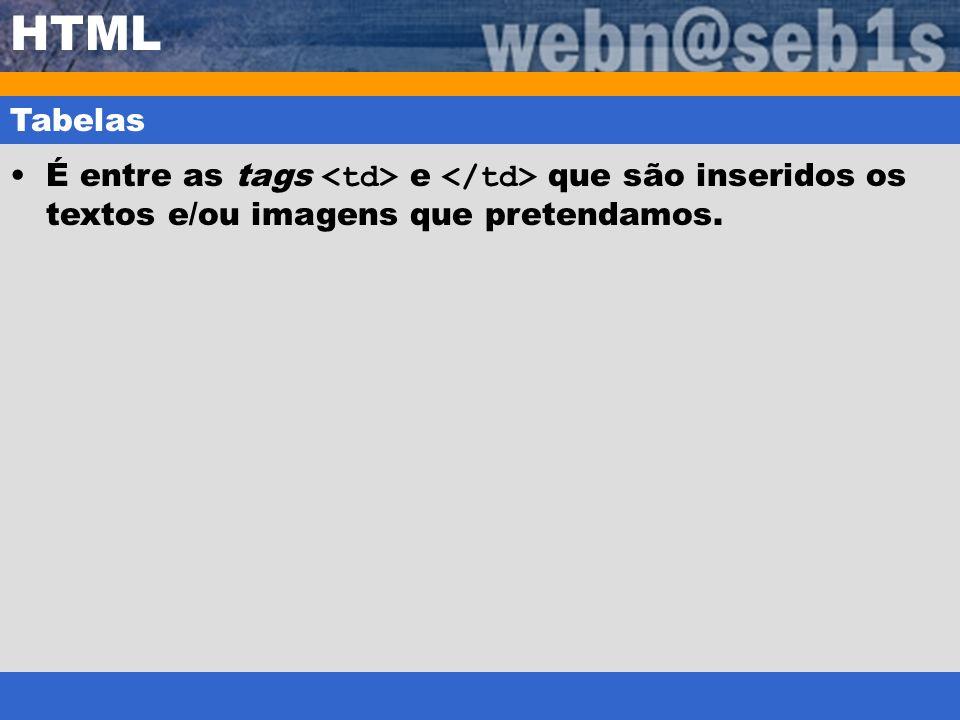 HTML Tabelas É entre as tags <td> e </td> que são inseridos os textos e/ou imagens que pretendamos.