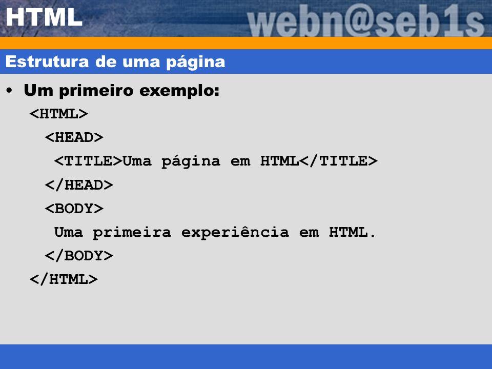 HTML Estrutura de uma página Um primeiro exemplo: <HTML>