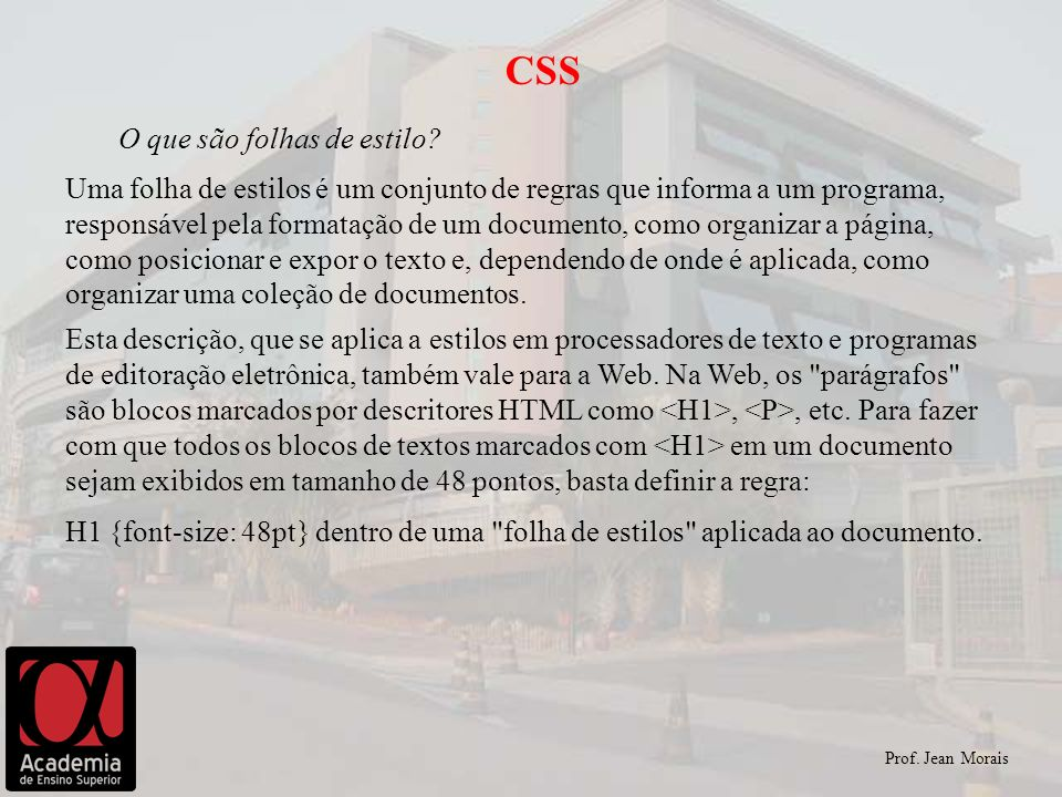 CSS O que são folhas de estilo