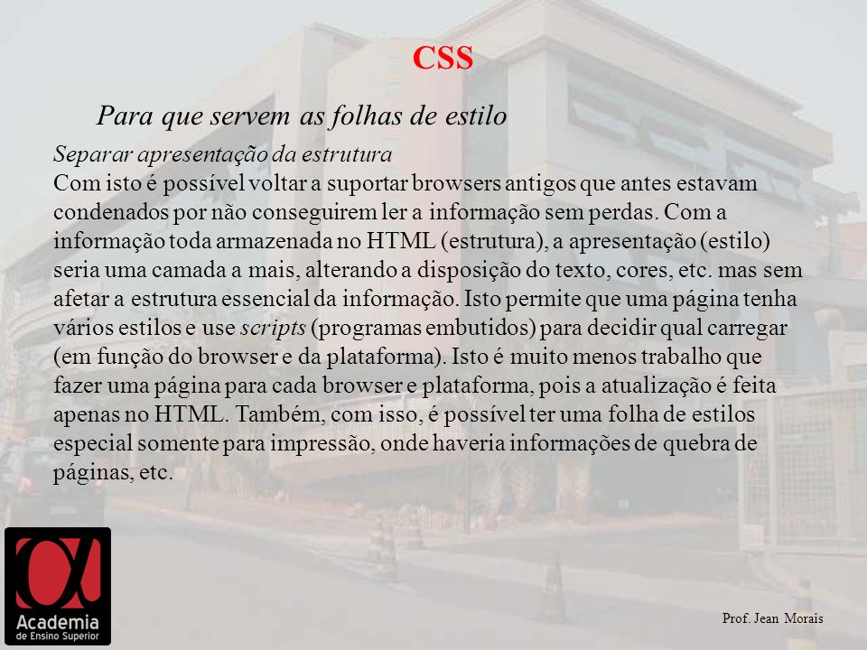 CSS Para que servem as folhas de estilo
