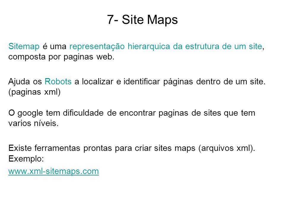 7- Site Maps Sitemap é uma representação hierarquica da estrutura de um site, composta por paginas web.
