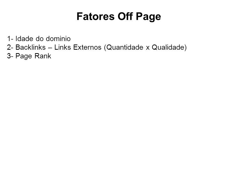 Fatores Off Page 1- Idade do dominio 2- Backlinks – Links Externos (Quantidade x Qualidade) 3- Page Rank.