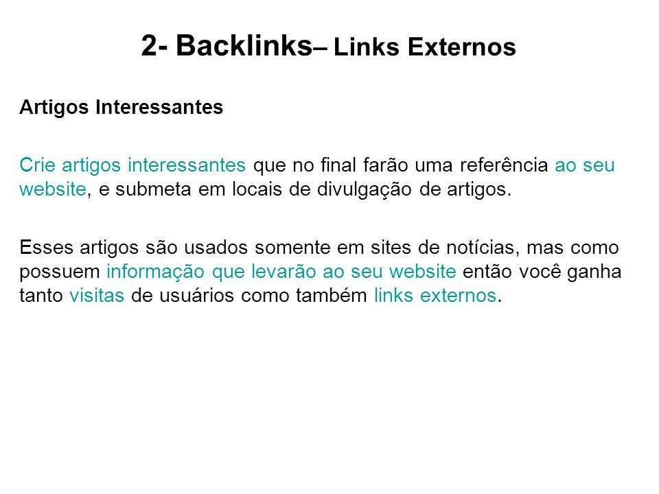 2- Backlinks– Links Externos